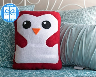 Red Decorative Pillow - Penguin Pillow - Home Decor - Bird Shaped Pillow - Gift for Children - Baby Room Decor - Cute Gift - Ships Fast!