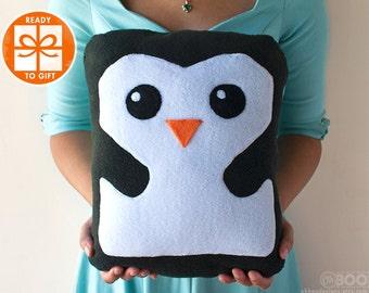 Penguin Plush - Penguin Pillow - Plushie Penguin - Stuffed Penguin Toy - Gift for Children - Baby Room Decor - Gift Wrapped - Ships Fast!