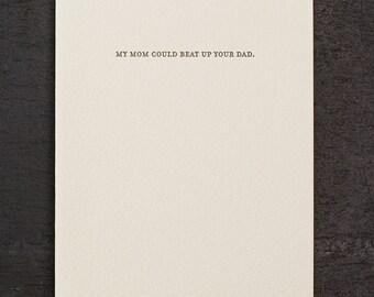 mom vs. dad. letterpress card. #813