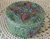 Beautiful Ceramic Dish With Lid, Trinket Dish