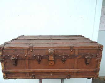 Vintage Trunk Coffee Table Box on Wheels Storage Organizer Worn Patina Hinged Lid
