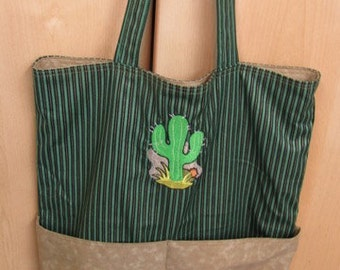 Western Cactus Eco Friendly Tote Bag Purse