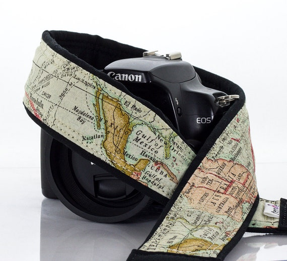 Old World Map Camera Strap