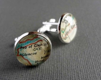 Geography Cufflinks, Teacher Gift, World Maps, City Names, World Placenames, Choose Any Two Placenames, Cartography Gift Idea, Map Cufflinks