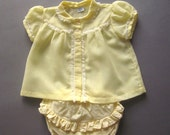 Vintage Baby Dress Shirt Yellow with Lace Ruffled Panties Diaper Cover Girls Summer Lace Shirt