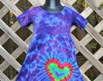 Rainbow Heart Tie Dye Baby Dress, infant clothes, new born, baby shower, baby girl