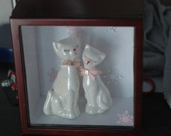 Snow Kitties Momma and Kitten Shadow Box , Cat Shadow Box