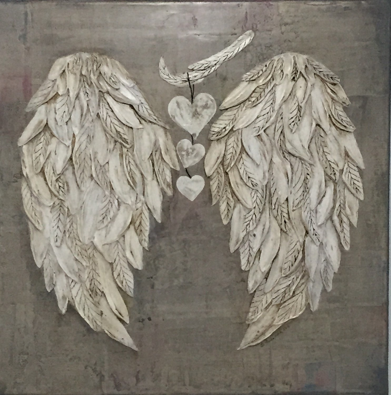 Decorative Wall Hanging Angel Wings : Angel wings wall decor with hearts by designsbylindahardy