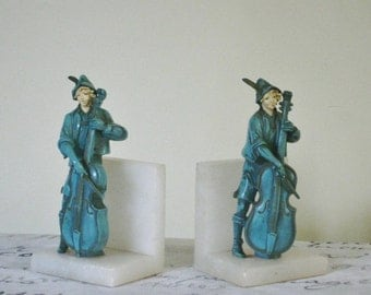 Vintage Musician Figural Bookend Marble Metal Base Cello Player, Middle Ages Renaissance Decor, English Legend of Sherwood Heavy Marble Base