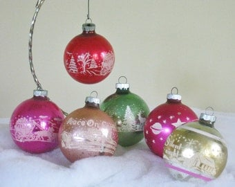 Vintage Shiny Brite Christmas Tree Round Ball Ornaments, Stenciled Silent Night Peace on Earth Mid Century Mercury Glass 1950s 1960s