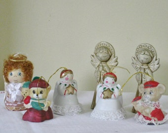 Collection of Vintage Christmas Decorated Bell, Angel Tree Hanging Ornaments, Mouse Mice Decorations, Assorted Mixed Lot Jasco and others