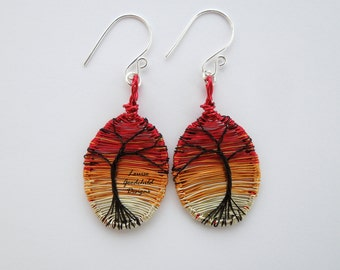 Sunset tree earrings, tree of life earrings, wire earrings, sterling silver earrings, tree sunset jewellery