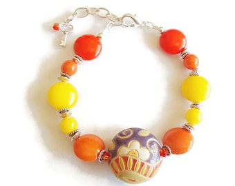 Focal Bead Bracelet. Czech Glass and Ceramic Bead Bracelet. Golum Studio Focal Bead. Summer Jewelry
