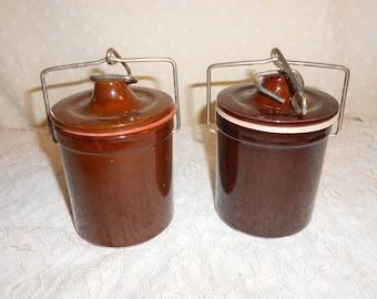 Brown Crock Jar set of 2