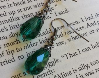 Green Sparkle Teardrop Earrings - Fairy, Costume, Work, Wedding