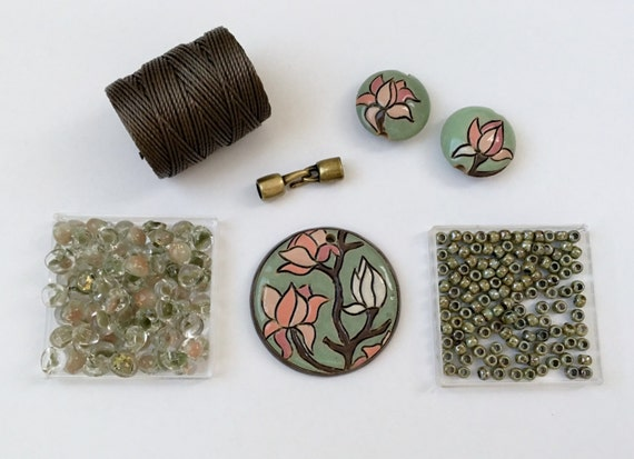 Magnolia Partially Beaded Kumihimo Necklace Kit, Free Canvas Tote, Tutorial Sold Separately