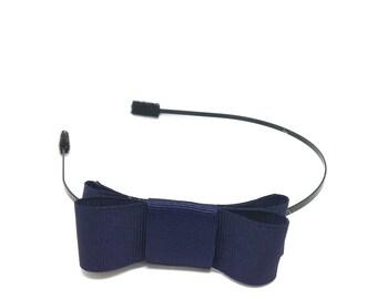 Navy Bow Headband - Metal Headband with Bow - Big Girl Headband, Tween Headband, Adult Headband, Side Bow Metal Headband