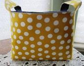 Fabric Organizer Basket Storage Container Bin -  Yellow and White Polka Dots