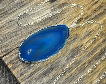 Valentine SALE - Agate Necklace, Blue Agate Necklace, Agate Slice Pendant, Agate Slice Necklace, Agate Silver Necklace, Sterling Silver C...
