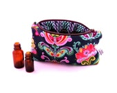 Essential Oil Case - Folk Bloom - cosmetic bag zipper pouch essential oil bag