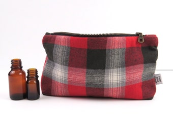 Plaid Essential Oil Case - Grey Red - cosmetic bag zipper pouch essential oil bag