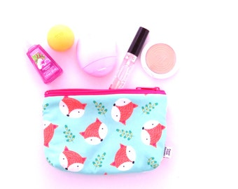 Small Zipper Pouch - Fox Happy Camper - makeup case, make up bag, zipper pouch, project bag, cosmetic case, Bible Journal, pen case
