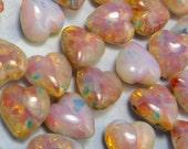 18 pcs Pink Opal Vintage Glass Cabochon Heart Stones Seconds for Mosaic Lot 4