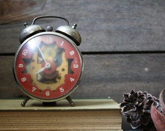 Vintage Robert Shaw Controls Co. -LUX Time Division Red and Brass Twin Bell Alarm Clock with exposed mechanisms