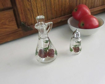 Glass Pinecone Cruet & Salt Shaker - Vintage Anchor Hocking Matching Pine Cone Set