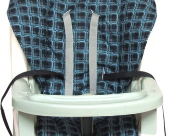 Graco  high chair cover, baby accessory, replacement cover, height chair, highchair cushion, kids and baby, feeding chair, black/blue plaid