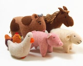 Farm animals, stuffed animals, waldorf farm animals, eco friendly farm animals, waldorf toys, child's toy