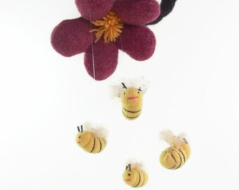 bee mobile, toy bees, nursery mobile, crib mobile, nursery decor, flower mobile, eco friendly mobile,
