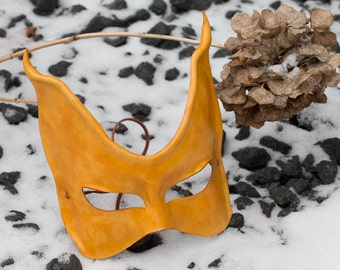 Leather Yellow Cat Mask
