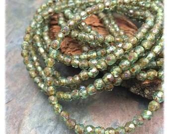 Aqua Picasso Fire polished 4mm Czech Glass Beads