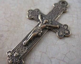 Pure Bronze Crucifix Stars and Skull Vintage Inspired Rosary Supplies Pendants  B1283LS