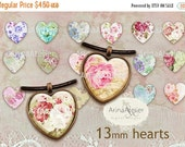 30% OFF SALE - Shabby Flowers Hearts 13 mm - Digital Collage Sheet for 12 mm Earrings - Bottlecaps - Pendants - Magnets - Buttons