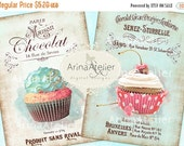30% OFF SALE - Shabby Chic Patisserie - Large Images - Backgrounds - 5x7 inch - Digital Print - Ephemera Sheet - to print on- Tote, Bags, t-
