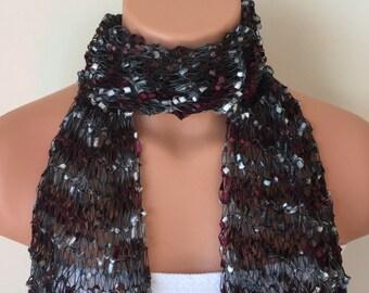 ribbon scarf handmade handknit trellis scarves burgundy silver shades multicolor gift idea for women girls birthday christmas teacher's day