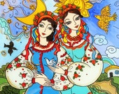 Reserved for Daria, Glass Painting, Ukrainian Folk Art, Day and Night, Sisters