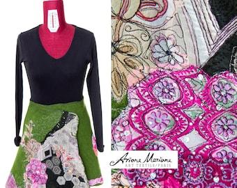 Extraordinary Wearable Art Skirt Gipsy gree, Reversible Art Garment, Silk Merino Wool , Natural recycled ecofriendly, Designer Paris