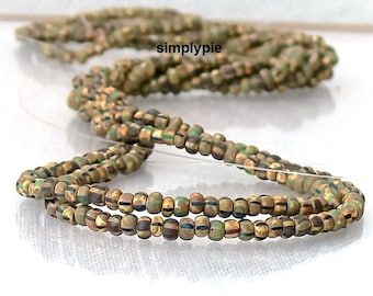 8/0 Czech Aged Matte Camo Beige Striped Picasso Mix 20-Inch Long Strand Glass Seed Beads