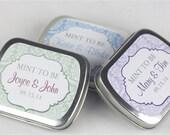 15 Personalized Favor Tins - Custom Mint Tins - Wedding Favors - Bridal Shower - Mint to Be - Metal Tins - Custom Wedding Favors - 2.5 x 2