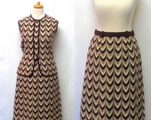 1960s / 70s Vintage Wool Knit Jersey Top & Skirt / Brown Geometric Tunic Top and Skirt