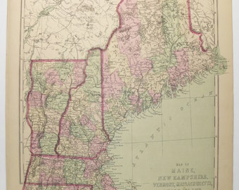 Antique Map New England 1873 Vintage Map Massachusetts, Maine Map, Vermont New Hampshire Map, Connecticut Rhode Island Map, MA ME Map VT