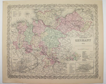 Vintage Map of Germany 1881 Colton Map, NW Germany Map, Historical Map, German Office Decor Gift for Coworker, Antique Map Art Gift for Her