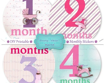 "INSTANT DOWNLOAD 12 Printable Monthly Baby Girl Stickers 4"" -Digital Monthly Stickers- Baby Girl Grow Up Stickers -Girly Monthly Stickers"
