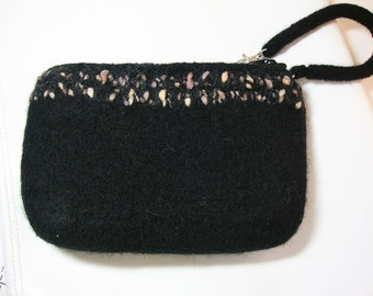 Black felted wool wristlet with lining and pockets