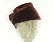 Oxblood Red FASCINATOR HAT for Women / Vintage Style Hat & Veil / Handmade by Marcia Lacher Hats