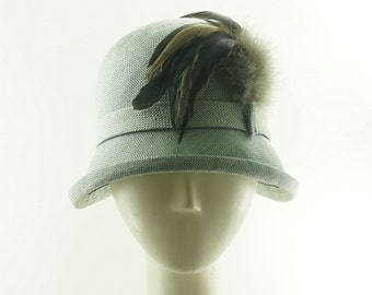 Blue Green CLOCHE HAT for Women / Vintage Style Hat / Handmade by Marcia Lacher Hats