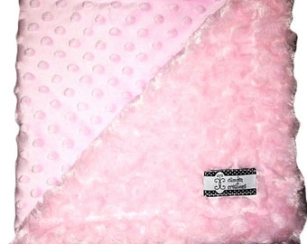 Camden's Collection, Cream and Baby Pink Dimple Dot Stroller Blanket